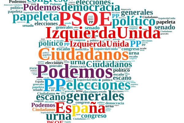 Ilustraccion with word cloud on the elections in Spain.
